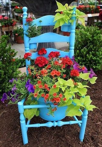 planters chair creative container gardening sand and sisal