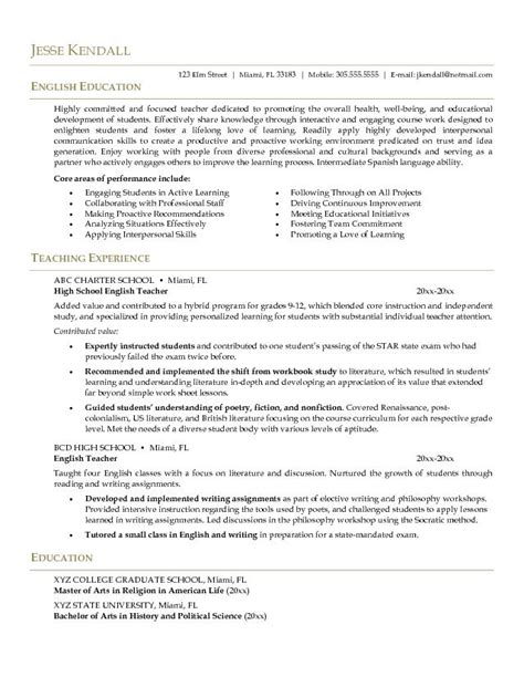 resume sle for teaching exle resume cv style career
