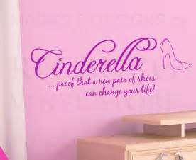 Disney Quote Wall Stickers Wall Decal Vinyl Quote Sticker Cinderella Shoes Can Change