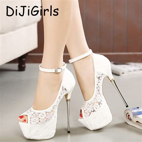 White Wedding Shoes by Summer Sandals Lace Pumps Shoes Platform