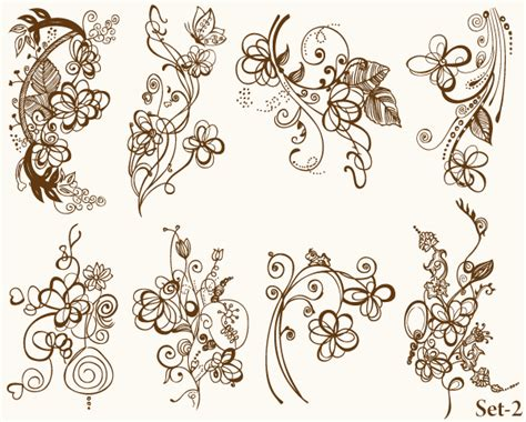 floral vector illustrator set 2 vector amp photoshop