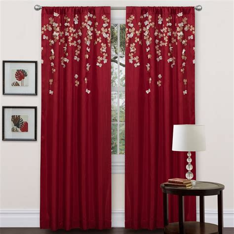 flower drop shower curtain lush decor red faux silk 84 inch flower drop curtain panel