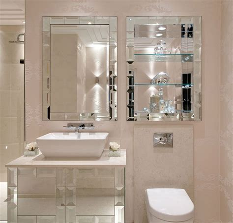 luxe designer mirror bathroom vanity set