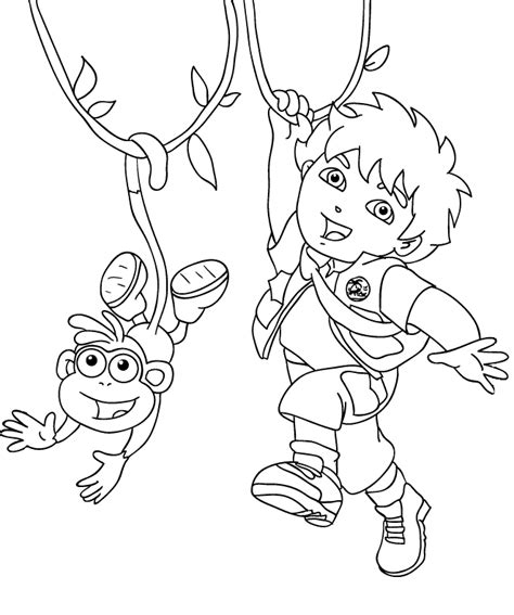 dora and diego coloring page www imgkid com the image