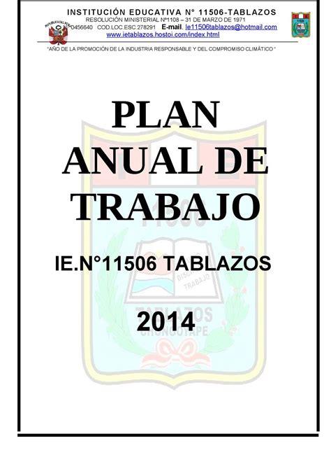 plan anual de trabajo de ie 2016 calam 233 o plan anual de trabajo 2014