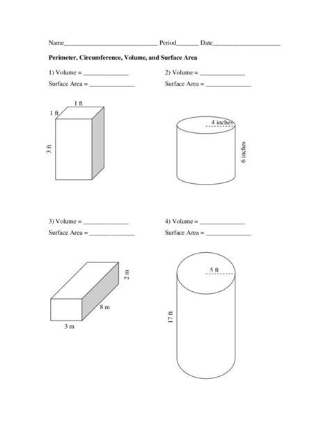 printable perimeter area and volume worksheets worksheets perimeter circumference and area worksheet