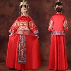 Length a line traditional red chinese wedding dress modern qipao