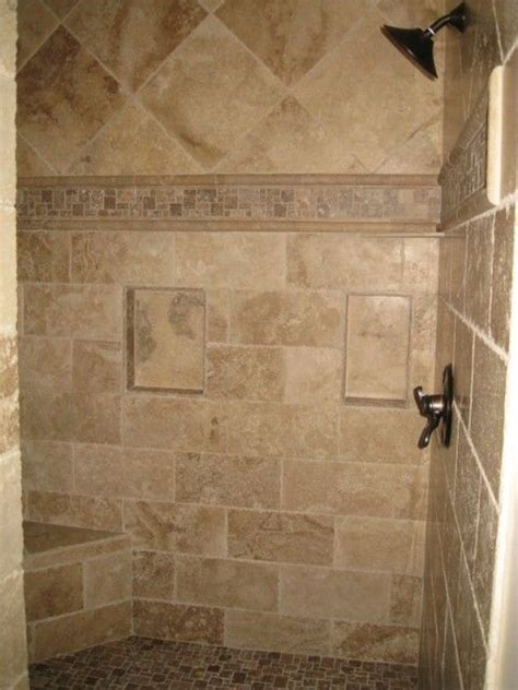 Travertine Shower Ideas | master bathroom chiseled travertine shower http