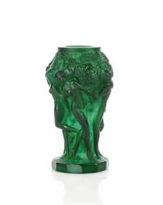 carved green malachite vase