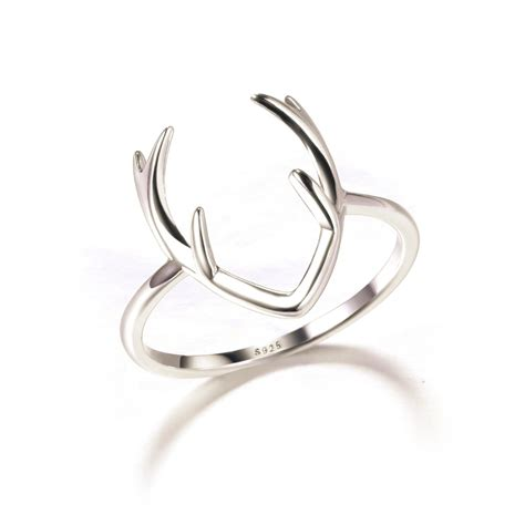 solid 925 sterling sliver ring deer antler jewelry fashion