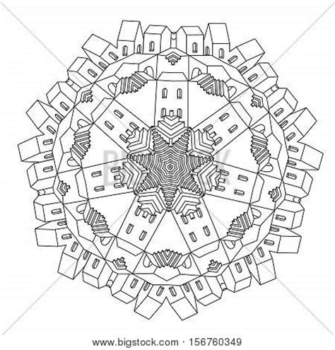 splendid symmetries a coloring book for adults coloring collection books contoured drawing of a non existent city maze in