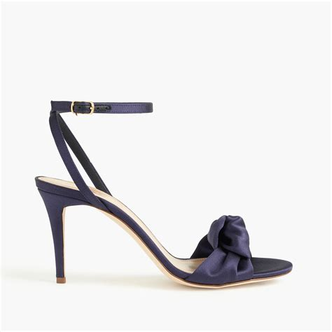 blue high sandals lyst j crew satin bow high heel sandals in blue