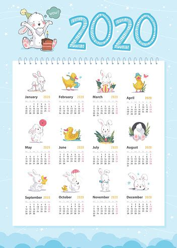 vector baby calendar   year template  cute  white bunny  yellow funny duck