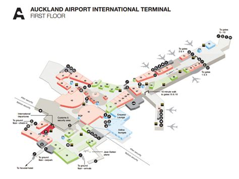 International Airport Floor Plan by Airport Maps Auckland Airport