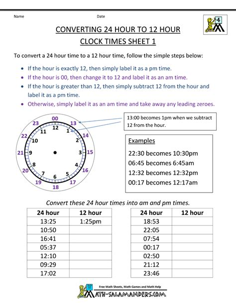 converter time 24 hour clock conversion worksheets