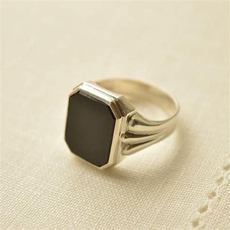 deco onyx silver 835 signet ring deco ring onyx