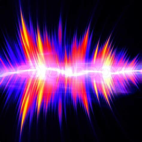 funky neon glowing audio waveform  graphic equalizer  electric plasma stock photo