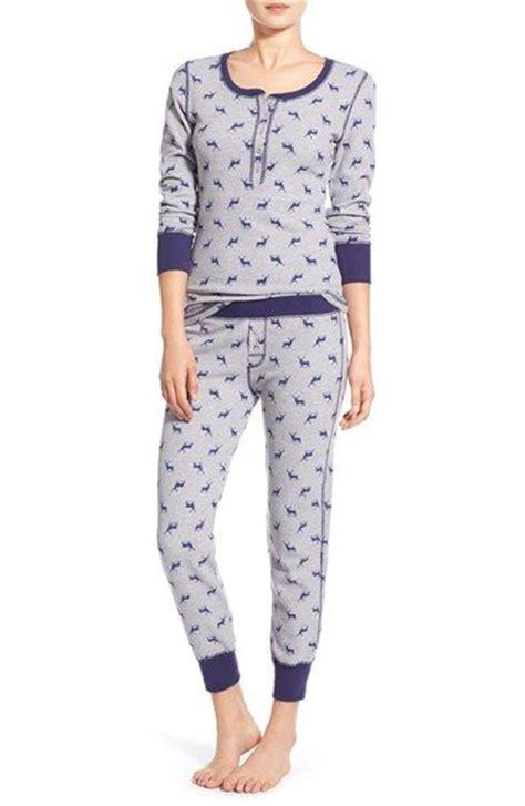 Ny Piyamas Ladie s bleecker new york print thermal pajamas