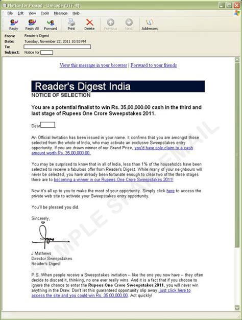 phishing email message spoofs reader s digest india - Readers Digest Sweepstakes India