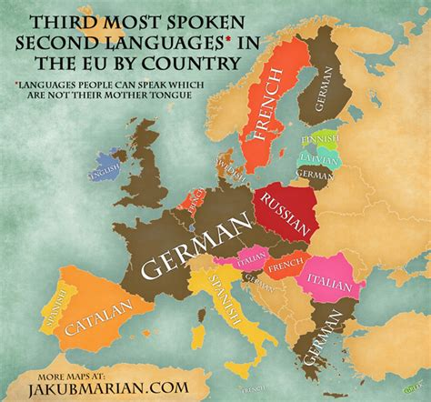 countries that speak in europe map of the most spoken foreign languages in the eu by country