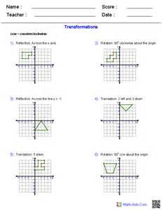 geometry worksheets transformations worksheets