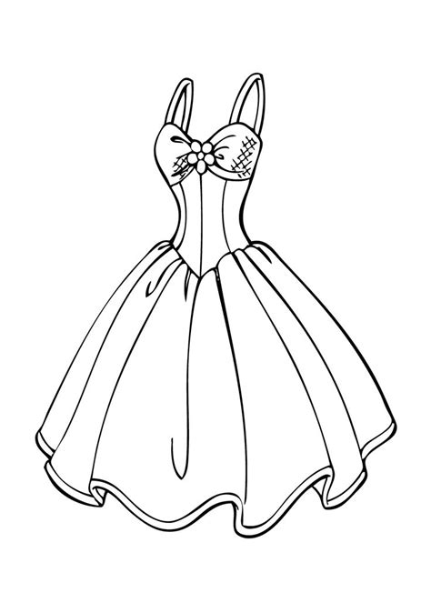 Coloring Page Dress by Wedding Dress Coloring Page For Printable Free