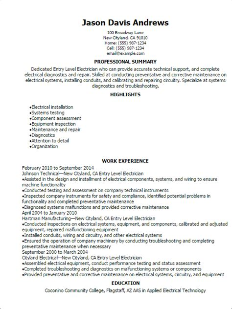 Professional Entry Level Electrician Resume Templates To