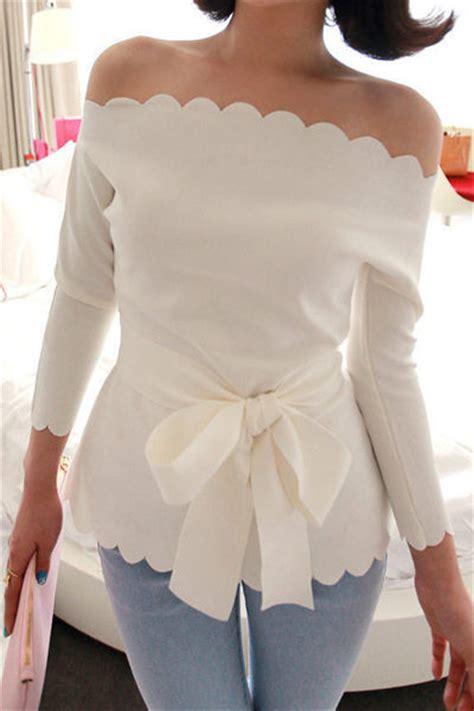 Blouse Sweet Spandek sweet boat neck three quarter white spandex shirt