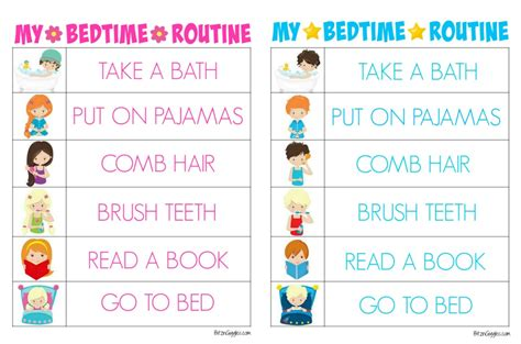 printable toddler bedtime routine chart printable bedtime routine charts bitz giggles