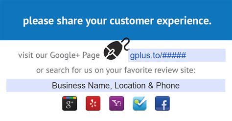 customer review card for places template