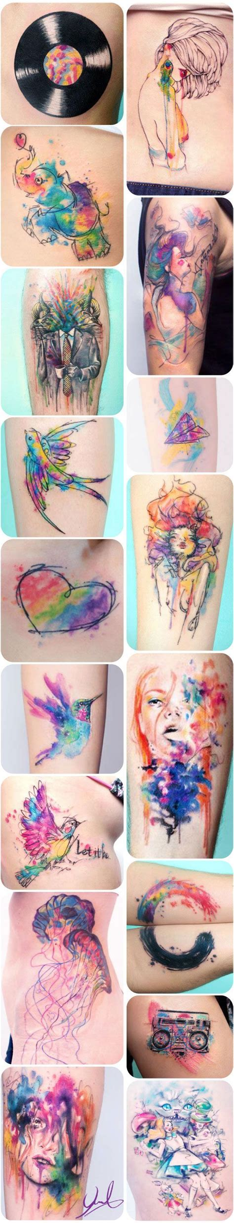 watercolor tattoo long term tattoos de candelaria carballo watercolors tattoos and