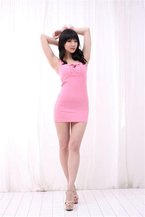 Dress Mini Korea yeon da bin in pink mini dress korean models photos