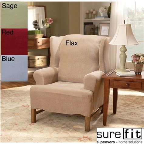 sure fit slipcovers wingback chairs sure fit stretch pearson wingback chair slipcover by sure