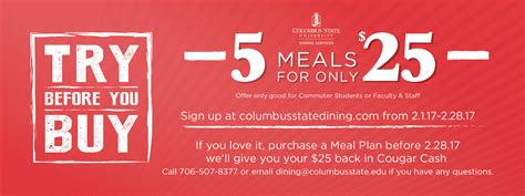 Try Before You Buy 3 by Columbus State Try Before You Buy Meal Plan Survey