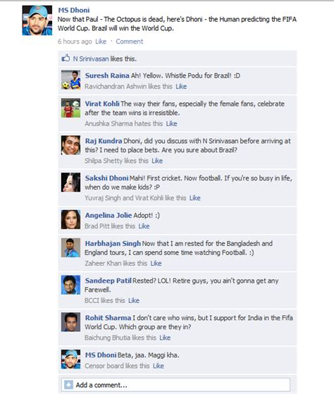 fb and co fb wall dhoni and co gear up for fifa world cup
