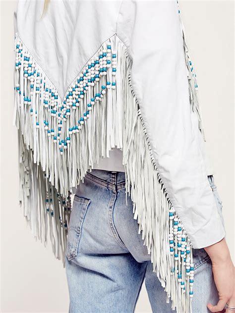 Fringe Fringe Tasya Jaket lyst free spell womens fringe leather jacket in white