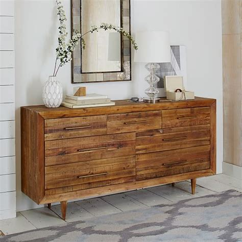 alexa reclaimed wood 5 drawer dresser alexa reclaimed wood 7 drawer dresser west elm