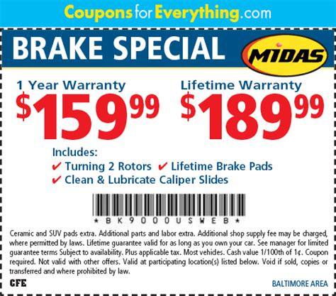 coupon brakes midas