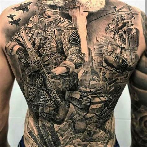 tattoo gallery military full back combat tattoo veteran ink