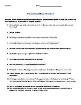 Economics Worksheet Answers by Freakonomics Worksheet Questions Economics Tpt