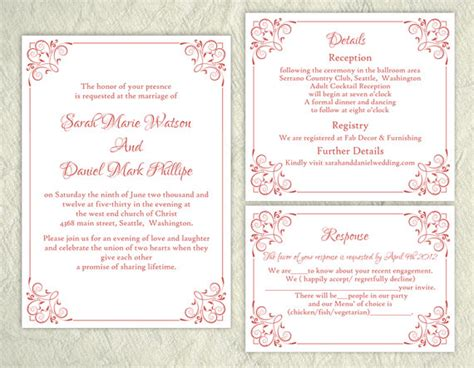 elegant wedding invitation printable diy wedding invitation template set editable word file