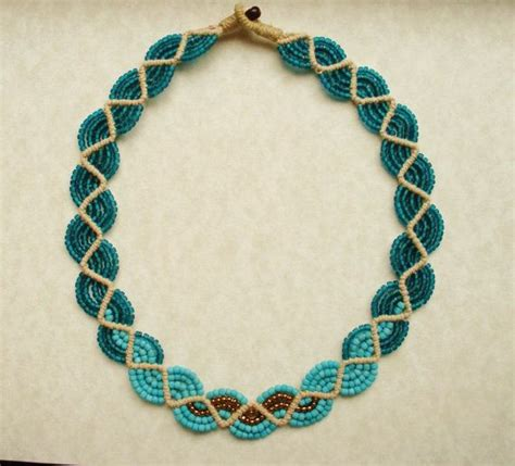 turquoise seed bead necklace macrame seed bead necklace turquoise