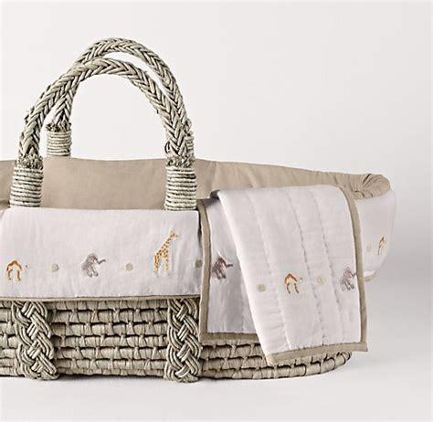embroidered safari moses basket bedding ash basket set