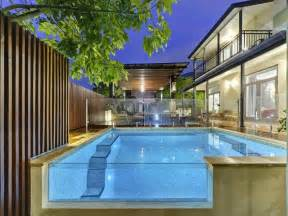 modern pool design modern pool design using tiles with glass balustrade