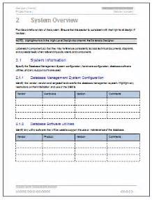 Software Documentation Template by Database Design Document Ms Word Template Ms Excel Data