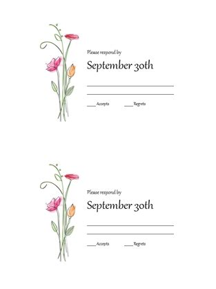 Rsvp Card Template 2 Per Sheet by Rsvp Cards Watercolor Design