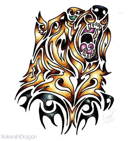 tribal grizzly bear tattoos grizzly tribal by rokenshidragon on deviantart