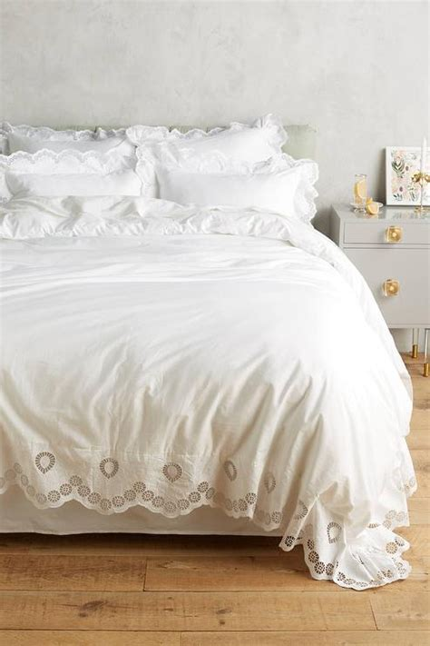 white eyelet embroidered duvet
