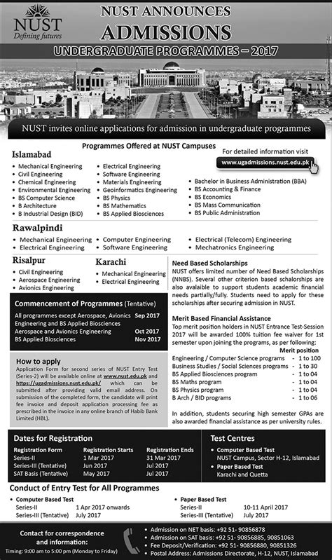 Nust Executive Mba Admission 2017 by Nust Admissions
