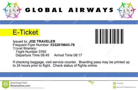 airline e ticket royalty free stock photo image 14761255